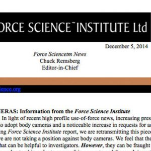 Force Science Institute on Body Cameras