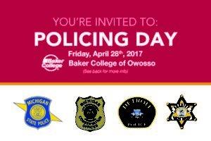 Baker college policing day flyer