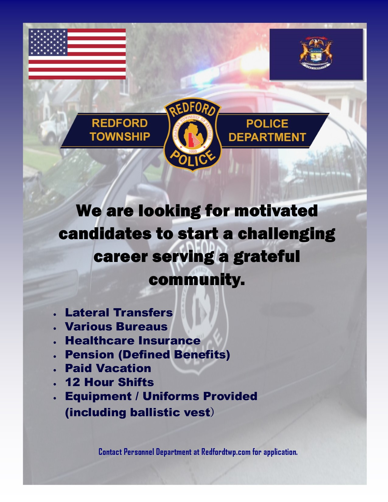 Redford Township Police Department Job Openings