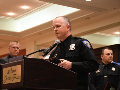 POAM Awards Two Shelby Township Officers, Joe Wocjik and Jason Zuk, with Police Officer of the Year Awards in Grand Rapids.