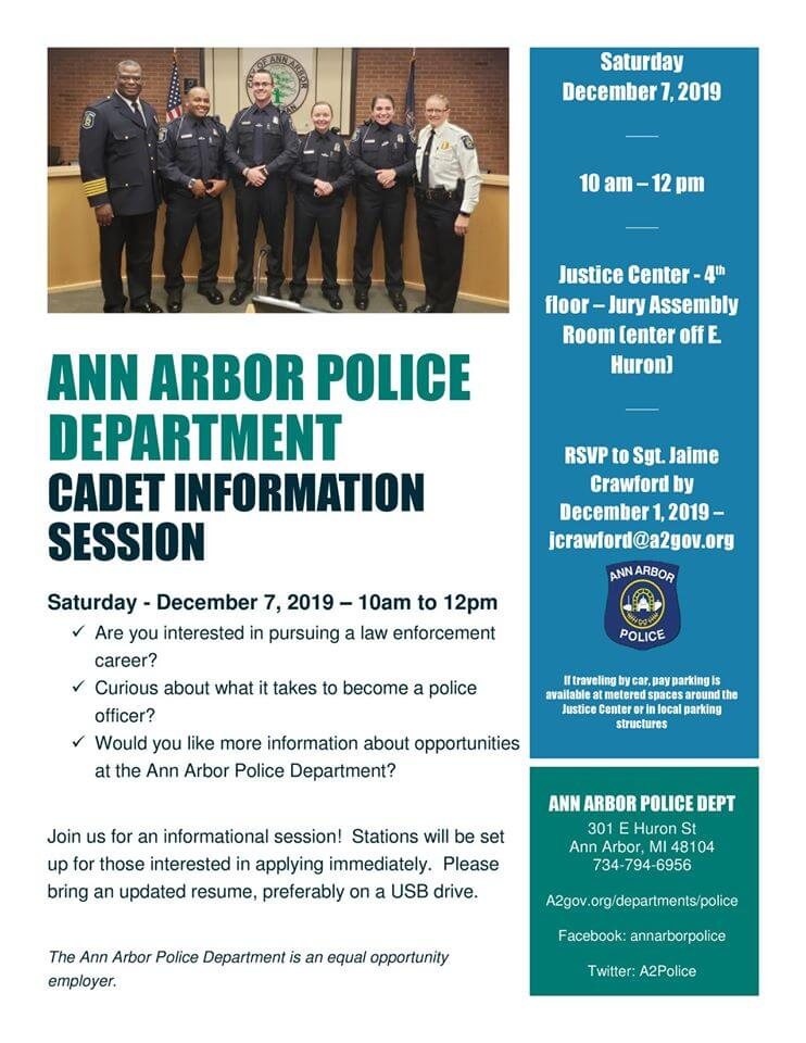 Ann Arbor PD's Cadet Informational Session Flyer