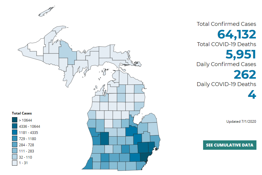 Map of Michigan COVID-19 Cases | July Updates