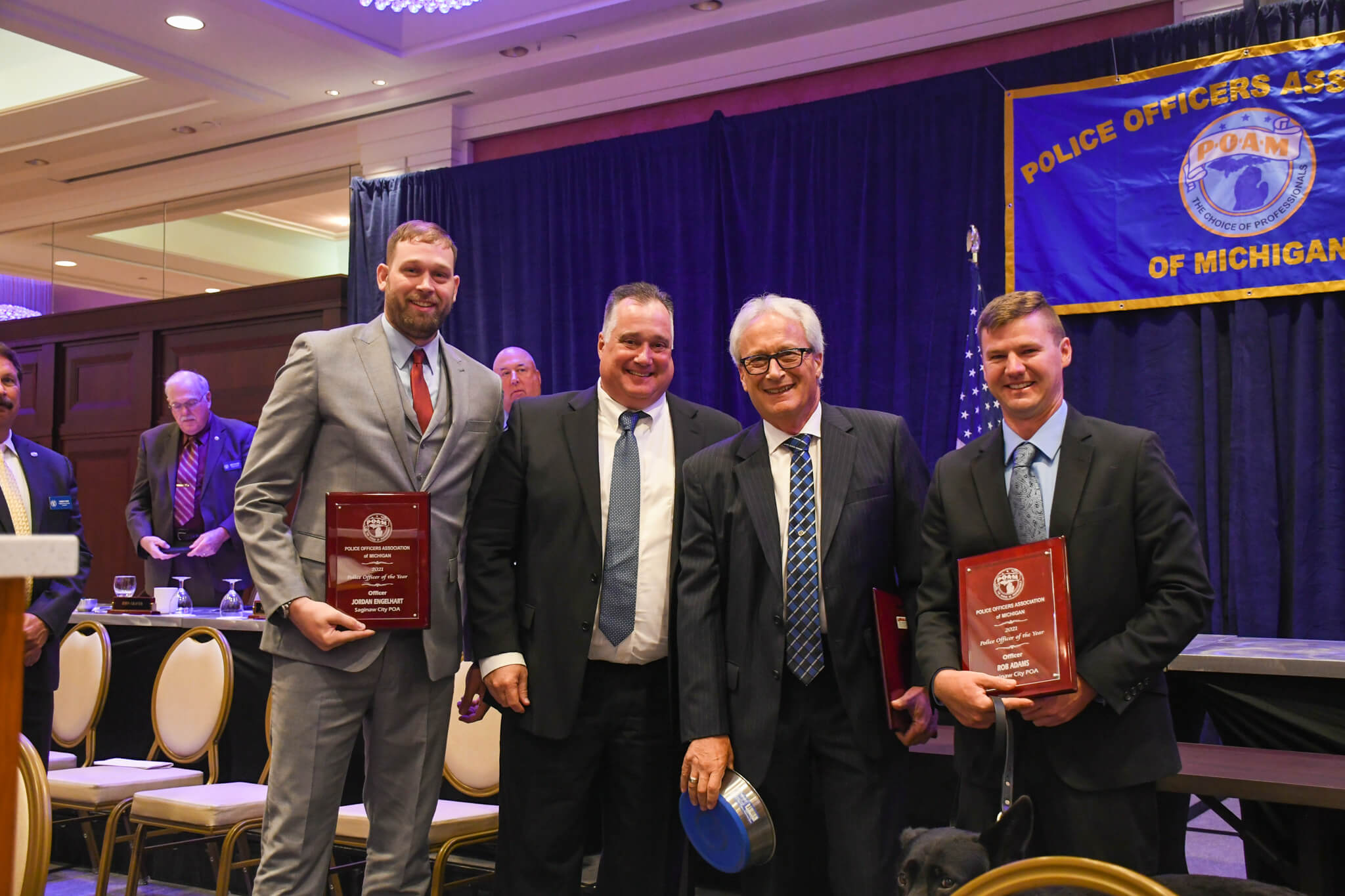 Saginaw City Officers Jordan Engelhart, Rob Adams, and K9 Deebo